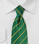 Men's Striped Tie in Greens and Golds