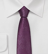 Rich Plum Skinny Tie in Vintage Leather Style