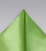 Solid Lime Green Pocket Square in 100% Silk with Satin Finish