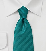 Peacock Teal Striped Men's Tie