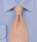 Peach Orange and Baby Blue Striped Necktie