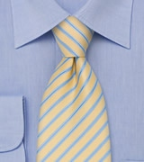 Yellow Mens Tie With Light Blue Stripes