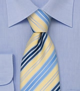 Modern Striped Tie in Light Yellow, Baby Blue, and Navy