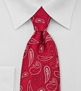 Mens Paisley Neck Tie in Red White