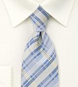 Modern Check Pattern Tie Light Blue