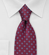 Tie in Merlot Red and Royal Blue