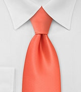Solid Tangerine Orange Necktie