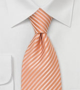 Classy Striped Necktie in Tangerine-Orange