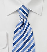 Trendy Mens Tie in Blue and White