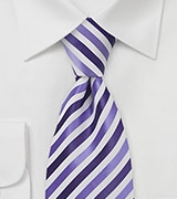 Striped Tie in Purples and Whites