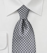 Gingham Tie in Silvers