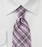 Modern Plaid Motif Tie in Pinks