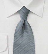 Silver Gray Textured Striped Tie