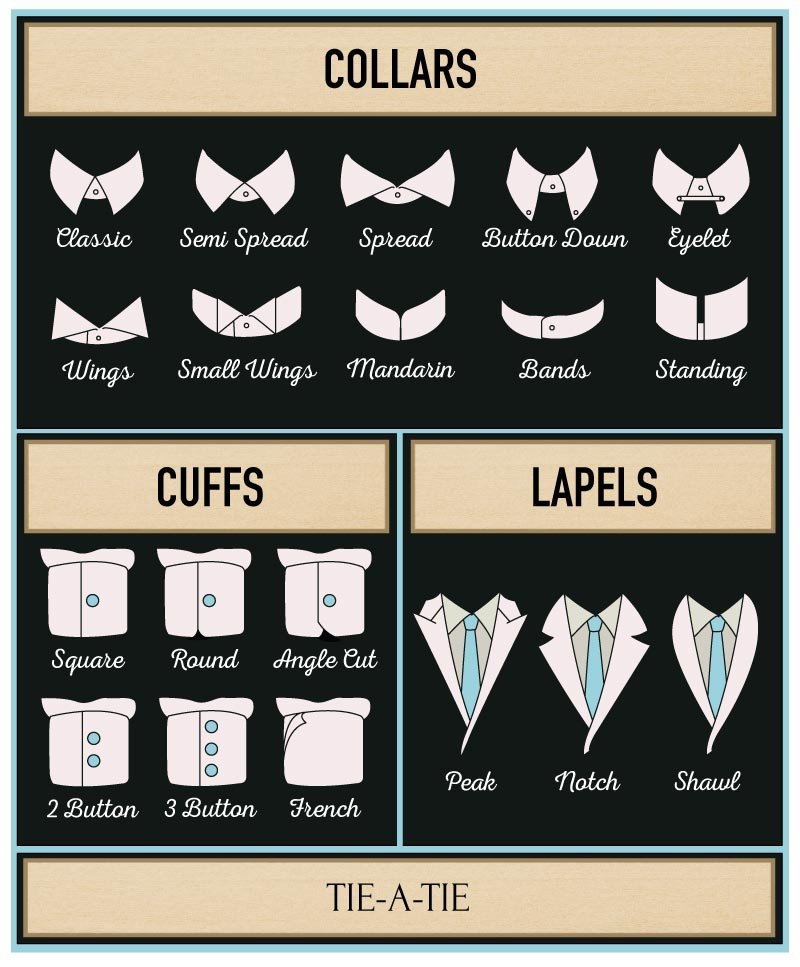 different styles of shirt collars and cuffs