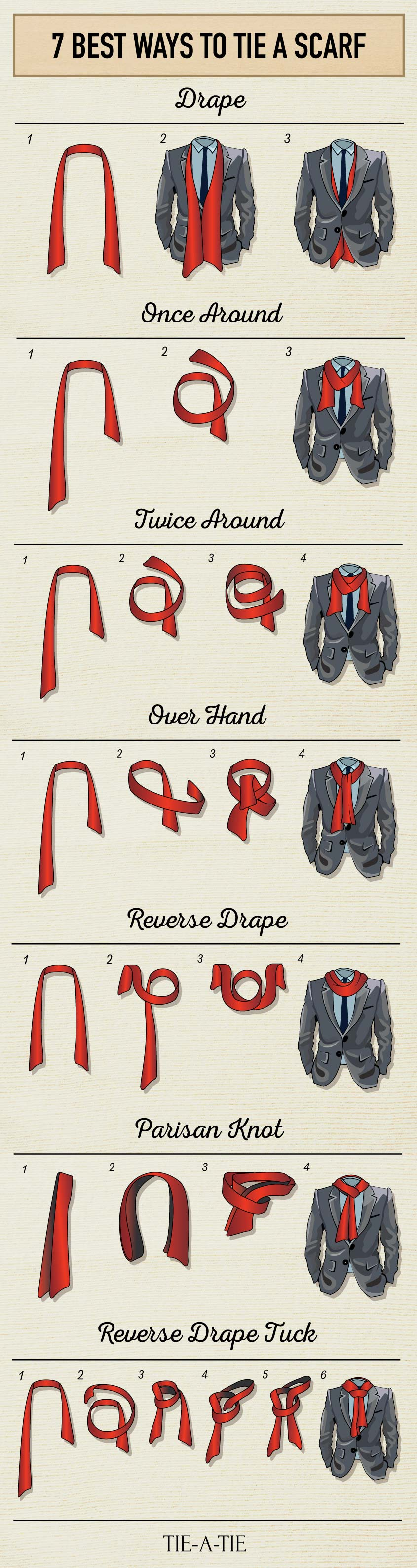 How to tie a Mens scarf different ways